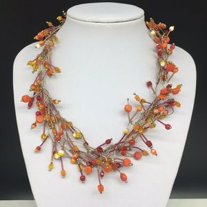 Chico's Art Glass Beaded Statement Necklace Orange